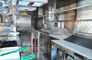 Prep area of a food truck