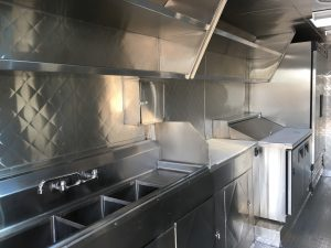 Sinks of a food truck for rent